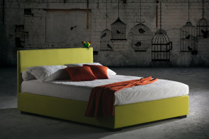 Upholstered slim bed frame with minimalist plain squared headboard