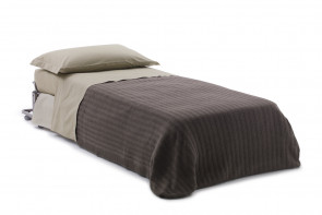 High end single fold away guest bed with mattress and dust cover