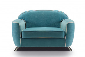 Retro snuggle chair sofa bed with chrome legs and T cushion