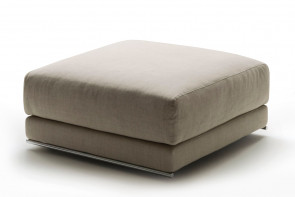 Feather filled upholstered low or high footstool with tubular metal base