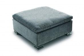 Stylish sofa footstool with feather filled top cushion and low wooden or metal legs