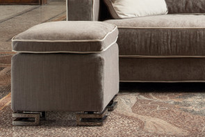 Square sofa footstool with feather filled cushion and low wooden or metal legs